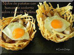 CocinandoSetas: Nidos de patatas con huevos de codorniz sobre cama de Boletus