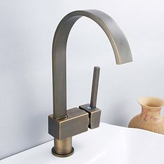Antique Inspired Solid Brass Kitchen Faucet - Antique Bronze Finish