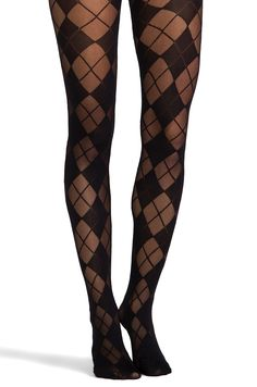 Pretty Polly Semi Sheer Argyle Tights in Black