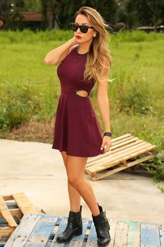 Born This Way Dress: Burgundy PERFECT. been wanting a cutout dress and this style and color are awesome. The leather detailing is a plus. Cutout Dress, Lovely Dresses, Dress Me Up, Dress To Impress, Cool Outfits, Autumn Fashion, Summer Dresses, Summer Outfits, Style Inspiration