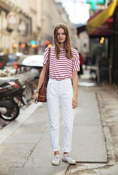High-waist, anti-fit denim is the shape of the season, and white jeans are an easy summer update. Pair with reds and blues for nautical-inspired style.