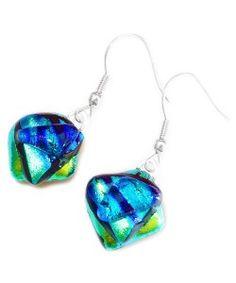 Handgemaakte oorbellen van luxe groen en blauw dichroide glas!