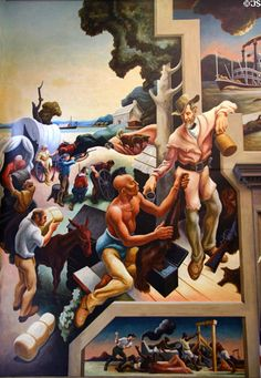 Thomas Hart Benton was an American painter and muralist. Along with Grant Wood and John Steuart Curry, he was at the forefront of the Regionalist art movement. American Realism, American Artists, Thomas Hart Benton Paintings, Street Art, Social Realism, Art Thomas, National Art, Portraits, Art Moderne