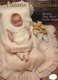Stricken Baby :Patons Heirloom Collection crochet and knit vintage baby designs instant downloa. Baby Girl Patterns, Baby Clothes Patterns, Baby Knitting Patterns, Crochet Patterns, Knitting Ideas, Crochet Designs, Free Knitting, Knitting Projects, Baby Design