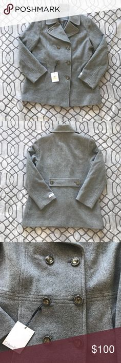 NWT Calvin Klein Double Breasted Pea Coat Sz 14 🎀 NWT Calvin Klein Double Breasted Pea Coat 🎀 This is a beautiful, heavy weight jacket that will absolutely keep you warm and cozy. Feels just as luxurious as you would expect. Beautiful jacket! 🎀 Fabric pictured 🎀 Sz 14, Measurements pictured above, in inches, taken laid flat 🎀 NWT, no wear/tear/damage to note 🎀 Smoke free, cat friendly home 🎀 No trades 🎀 Buy with confidence! Item identical to pictures & description. Calvin Klein…