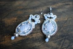 Soutache dangle earrings, Blue and grey earrings with agate, Embroidered earrings, Beaded earrings,  Evening earrings, Bridal, FREE SHIPPING