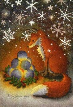 Vosje met sneeuwlicht Art Illustrations, Illustration Art, Winter Time, Foxes, Heaven, Christmas, Painting, Xmas, Sky