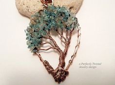 Wire Wrapped Bonsai Tree of Life Pendant, Aqua Marine and Labradorite, Handmade Wire Jewelry, Antiqued Copper, Wire Tree Jewelry Mothers Day Gift  The pendant is 2 3/4 inches in height and approximately 1 1/2 inches wide, at the widest point. It comes with a 18 inch solid copper chain and handmade clasp.  This unique and gorgeous Bonsai tree has a generous canopy of beautiful Aqua Marine and Labradorite Gemstone chips. Each have been sewn into place against the tree branches for dur...