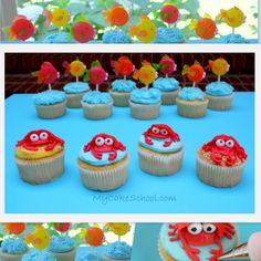 You will love this simple beachy cupcake tutorial for buttercream crabs and lollipop fish toppers!