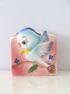 Hey, I found this really awesome Etsy listing at https://www.etsy.com/listing/183403160/sweetest-bluebird-planter-pink-ceramic