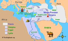 Map of the Medo-Persian empire Bible Study Guide, Online Bible Study, Study Guides, Babylon Empire, Persian Empire Map, Kids Church Lessons, City Of Petra, Bible Mapping, Cultura General