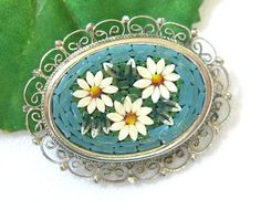 Vintage Micromosaic Brooch Pin Italy Floral by BuyVintageJewelry, $26.00
