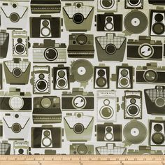 Michael Miller Laminated Cameras Neutral from @fabricdotcom  Designed for Michael Miller Fabrics, this laminated fabric meets the key provisions of the CPSIA (Comprehensive Consumer Product Safety Improvement Act of 2008). Does not contain any lead or thyolate. Soft, protective film is laminated to the face of the fabric, its softness makes this cloth extremely pliable for fashion, and the durability combined with easy-care convenience (cleans up easily with a damp cloth) can be brought to ...