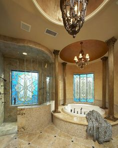 Mediterranean Bathroom Bathtub Design, Pictures, Remodel, Decor and Ideas - page decorating before and after decorating interior design bathroom design interior Dream Bathrooms, Dream Rooms, Beautiful Bathrooms, Luxury Bathrooms, Master Bathrooms, Master Baths, Small Bathroom, Spa Bathrooms, Luxury Bathtub