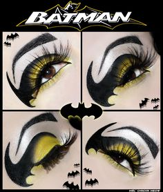 Beautiful batman eyes, great for any batgirl fancy dress costume Maquillage Halloween Clown, Batman Makeup, Batgirl Makeup, Superhero Makeup, Makeup Art, Beauty Makeup, Makeup Themes, Character Makeup, Costume Makeup