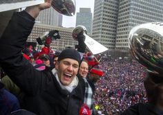 """""""I told you we were going to bring this sucker home. And we brought it home,"""" Tom Brady said at the end of the parade."""