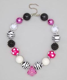 This Pink & White Zebra Bead Necklace by Tutu AND Lulu is perfect! #zulilyfinds
