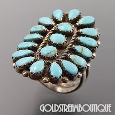 VINTAGE NAVAJO STERLING SILVER TURQUOISE PETIT POINT CLUSTER OVAL WRAP RING 6.75 #Cluster