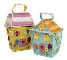 Cute little felt house storage