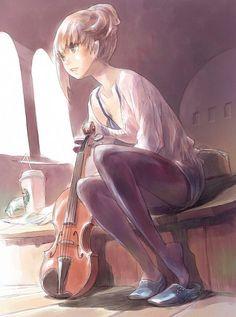 Violin anime girl