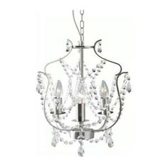 go to Ikea and pick this up for momma.KRISTALLER Chandelier, IKEA The height is easy to adjust by using the S-hook or cutting the chain. Lustre Ikea, Ikea Chandelier, Mini Chandelier, Closet Chandelier, Simple Chandelier, Chandelier Ideas, Closet Lighting, Silver Chandelier, Walking Closet