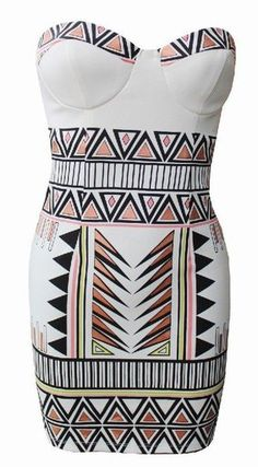 White & Pink Metallic Geometric Print Strapless Dress