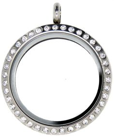 Large Silver Crystal 30mm Floating Locket