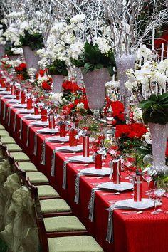Lavish Christmas table settings.