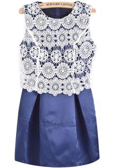 Blue Contrast Lace Floral Crochet Slim Dress - Sheinside.com