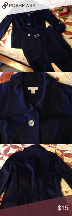 Navy blue dressy outfit Very cute jacket and capri pants in very good condition. Jacket is long sleeve and also is convertible to 3/4 sleeve. Elastic on the back. Jacket is size medium and capris are size 4 Charter Club Jackets & Coats Blazers