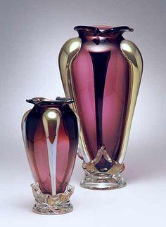 """""""Iris Violet Bit Vase""""  Art Glass Vase  Created by Dierk Van Keppel"""