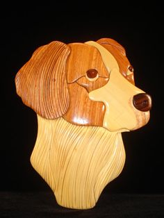 Hand Carved Wood Art Intarsia BRITTANY SPANIEL by MyHeritageUSA