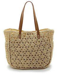 Straw Studios Woven Straw Floral Crochet Beach Tote, $49 | Dillard's | Lookastic.com Studio Weave, Crochet Tote, Dillards, Straw Bag, Studios, Weaving, Tote Bag, Beach, Floral