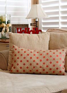 CHRISTMAS Burlap pillow - Be merry pillow- Holiday Burlap Pillow - Holiday pillow decor. via Etsy.