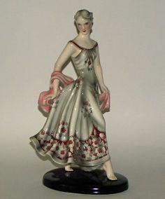 RARE Antique Wien Goldscheider Art Deco Pottery Young Girl Figure | eBay