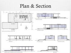 Farnsworth House - Mies van der Rohe - 1951 Floor Plan & Section ...