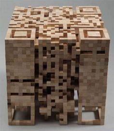 QR wood sculpture - the next level in QR codes