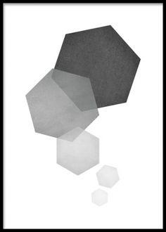 Grå poster med hexagon figurer på vit bakgrund. Poster med hexagon mönster i gråa nyanser. En intressant grafisk poster att ha på väggen och fin att blanda med t. ex illustrationer eller texttavlor.