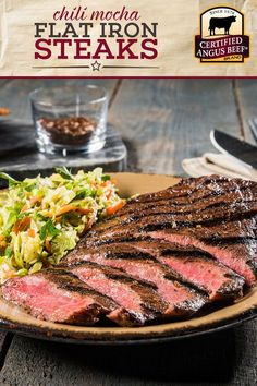 Fire up your grill for CHILI MOCHA Flat Iron Steaks! This deliciously easy steak dinner recipe is ma. Steak Dinner Recipes, Best Beef Recipes, Grilled Steak Recipes, Barbecue Recipes, Grilled Meat, Grilling Recipes, Bbq, How To Cook Beef, How To Grill Steak