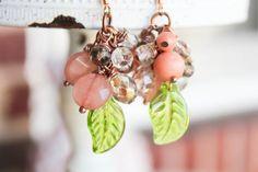Secret Garden Spring Green Leaves & Berries Earrings by adairya2, $16.50