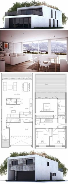 Modern House Design to Narrow lot. Floor Plan from ConceptHome.com