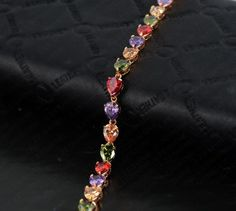 GOLD PLATED CHARM BRACELET VENUS COLORFUL WATER DROP CUBIC ZIRCONIA Now 20.99$ + Free Shipping Check out for more in our store