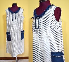 1960s Vintage Plus Size Blue and White Polka by TabbysVintageShop, $28.95