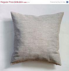 Linen pillow case - natural fabric pillow cover - light grey - decorative covers - throw pillows - shams   New handmade pillow cover. Sewn in custom