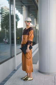 """Linda Tol, blogger  """"My suit is by Jo No Fui. I'm also wearing Lolo shoes, a Rika bag and Kime sunglasses."""""""
