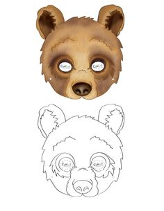 We've created a black and white Bear mask and colored Bear mask, choose your preference. Then cut all around, cut holes for the eyes, and punch a sm...