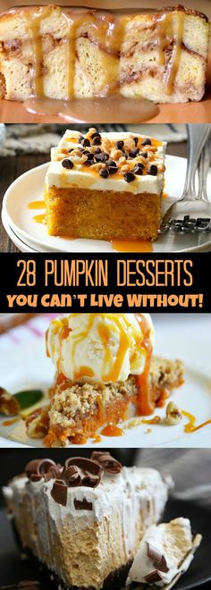 28 Pumpkin Desserts You NEED in your life! Great holiday recipes!