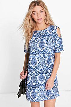 Willow Paisley Cold Shoulder Shift Dress at boohoo.com