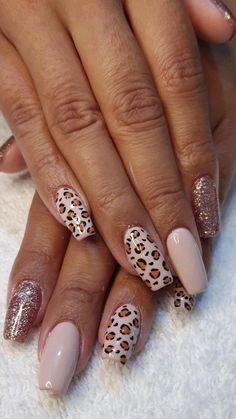Acrylic Nail Designs Classy, Leopard Nail Designs, Leopard Nail Art, Accent Nail Designs, Leopard Print Nails, Simple Acrylic Nails, Stylish Nails, Edgy Nails, Acylic Nails