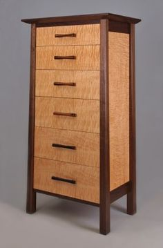 Walnut Frame With Mortice And Tenon Joinery, Drawer Faces And Side Panels  Are Curly Maple